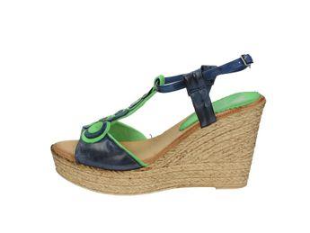 Marila dámske zeleno modré kožené letné sandále na plnom podpätku