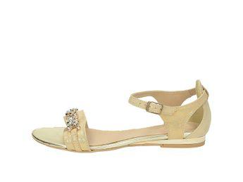 Olivia shoes dámske lesklé sandálky na plnom podpätku - zlaté