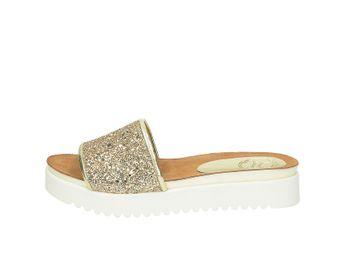 Olivia shoes dámske trblietavé šľapky na platforme - zlaté