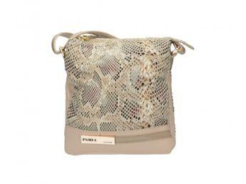 Pabia dámska béžová štýlová elegántna kabelka s krokodílym vzorom