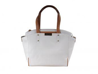 Pabia dámska biela elegántna kabelka s hnedými prvkami