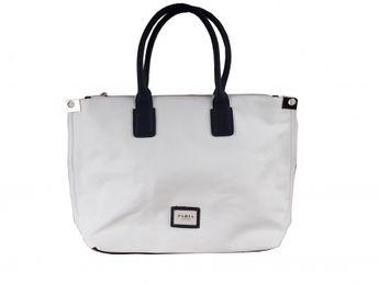 Pabia dámska bielo modrá elegantná kabelka so zlatými prvkami
