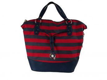 Pabia dámska červeno modrá štýlová kabelka s pásikavým vzorom