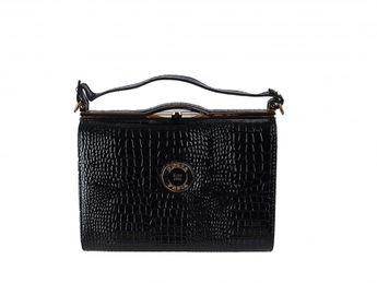 Pabia dámska kabelka s krokodílym vzorom - čierna
