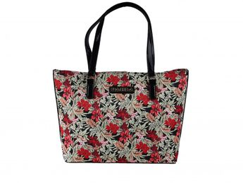 Pabia dámska čierna kabelka s kvetovým vzorom
