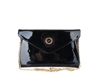 Pabia dámska čierna lakovaná kabelka