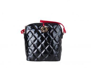 Pabia dámska čierna lakovaná prešívaná kabelka