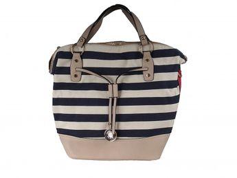 Pabia dámska modro béžová praktická kabelka s pásikavým vzorom