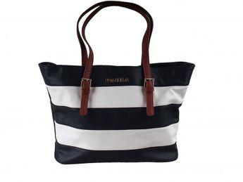 Pabia dámska modro biela štýlová kabelka s pásikovým vzorom