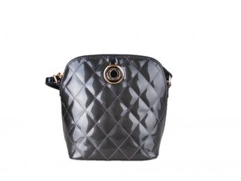 Pabia dámska šedá lakovaná prešívaná kabelka