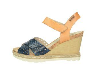 Pikolinos dámske sandále na klinovej podrážke - modrohnedé