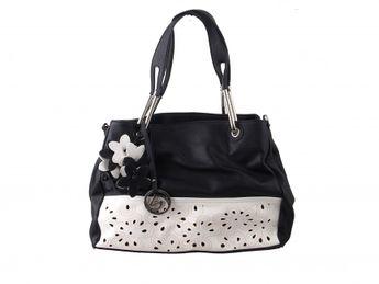 Remonte dámska čierno-biela kabelka s kvetmi