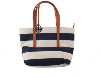Rieker dámska béžovo modrá pásikavá kabelka