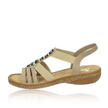 Rieker dámske elegantné sandále s ozdobnými kamienkami - béžové