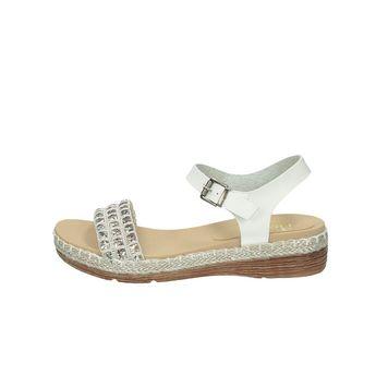 Rieker dámske elegantné sandále s ozdobnými kamienkami - biele