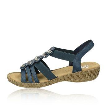 Rieker dámske elegantné sandále s ozdobnými prvkami - modré