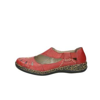 Rieker dámske kožené poltopánky - červené