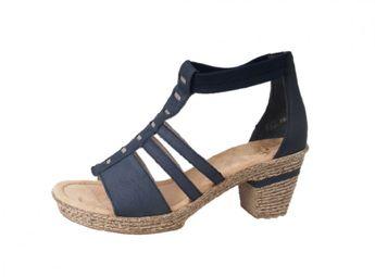 Rieker dámske modré kožené sandále