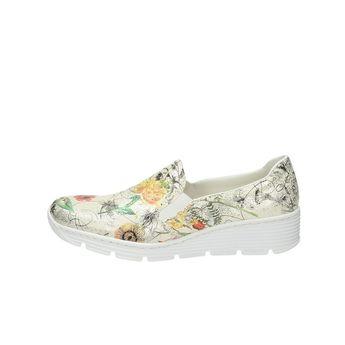 Rieker dámske poltopánky s kvetovým vzorom - biele