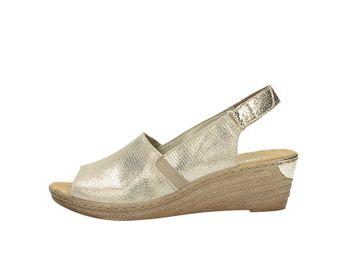 Rieker dámske štýlové sandále na klinovej podrážke - zlaté