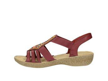 Rieker dámske štýlové sandále s ozdobnými prvkami - bordové