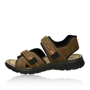 Rieker pánske sandále na suchý zips - hnedé