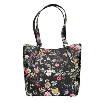 Robel dámska kabelka s kvetovým vzorom - čierna