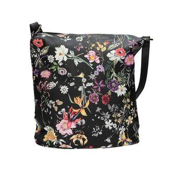 Robel dámska štýlová kabelka s kvetovým vzorom - čierna