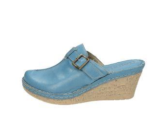 Robel dámske kožené šľapky na klinovom podpätku - modré
