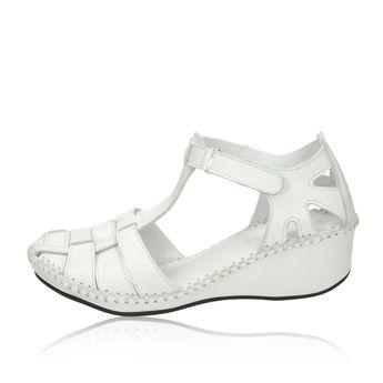 Robel dámske pohodlné sandále na suchý zips - biele