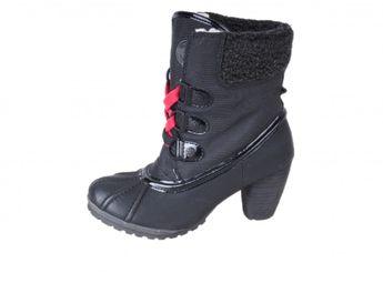 s.oliver dámske zateplené čižmy na podpätku - čierne