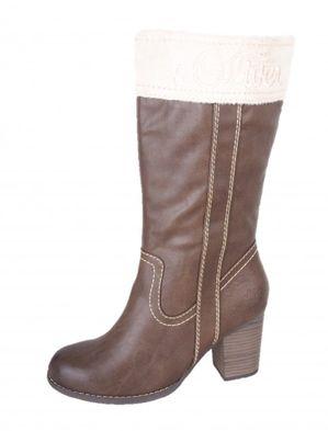 s.oliver dámske zateplené čižmy na podpätku - hnedé
