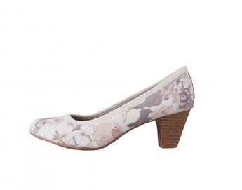 s.oliver dámske béžové lodičky s kvetovým vzorom