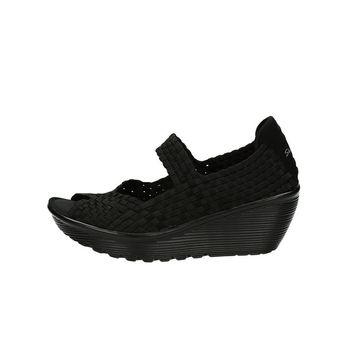 Skechers dámske pohodlné sandále na klinovej podrážke - čierne