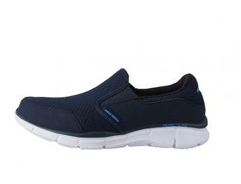 Skechers pánske modré letné tenisky bez šnúrovania s bielou podrážkou
