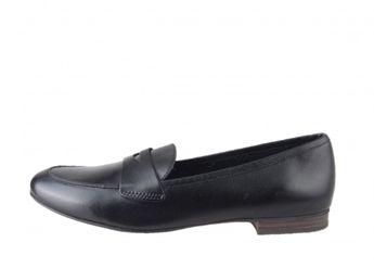 Tamaris dámske čierne kožené elegantné mokasíny