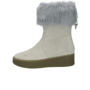 Tamaris dámske čižmy s kožušinou - šedé