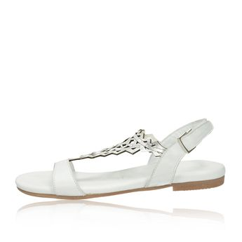 Tamaris dámske elegantné sandále na suchý zips - biele