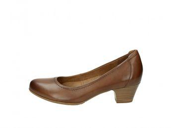 Tamaris dámske kožené lodičky na nízkom podpätku - hnedé