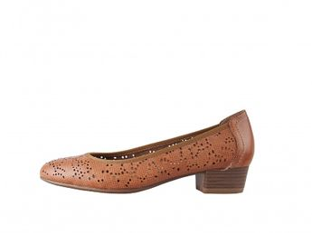 Tamaris dámske hnedé perforované lodičky na nízkom podpätku