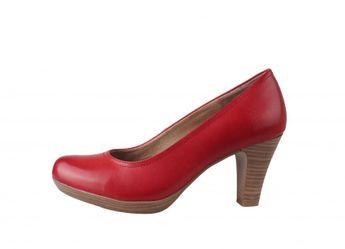 Tamaris dámske červené lodičky - kožené