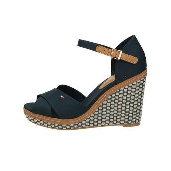 Tommy Hilfiger dámske štýlové sandále na klinovej podrážke - modré