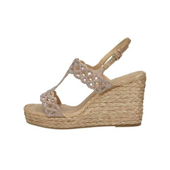 Alma en Pena dámske štýlové sandále s ozdobnými kamienkami - béžové