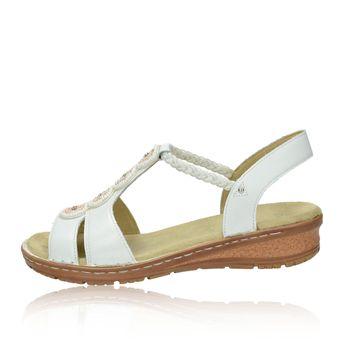 Ara dámske kožené sandále s ozdobnými kamienkami - biele