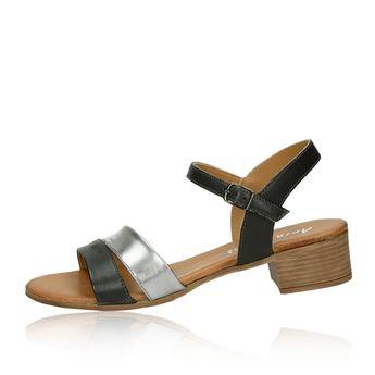 a606f234ee95d Arianna dámske štýlové kožené sandále s remienkom - striebornočierne