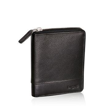 Pánska kožená peňaženka na zips - čierna