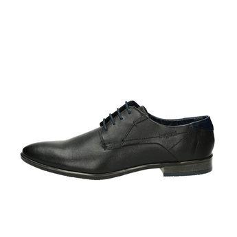 Bugatti pánske štýlové kožené spoločenské topánky - čierne