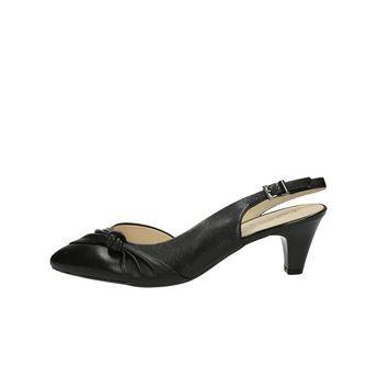 Caprice dámske kožené sandále s remienkom - čierne