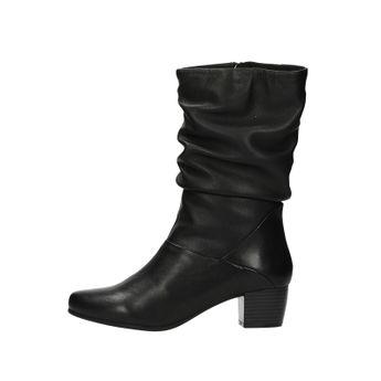 Caprice dámske kožené nízke čižmy - čierne