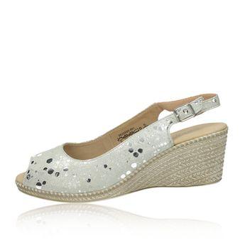 Caprice dámske kožené sandále na klinovej podrážke - strieborné